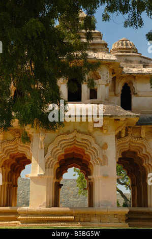 The two storeyed Lotus Mahal with recessed archways is one of the major attractions within the World Heritage Site - Stock Photo