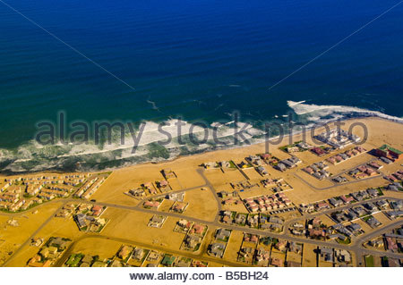 Aerial view of the city of Swakopmund Namib Desert Namibia - Stock Photo