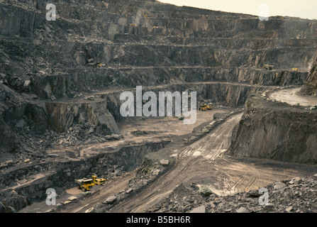 Penrhyn quarry the largest slate quarry in Wales Bethesda Snowdonia North Wales Wales United Kingdom Europe - Stock Photo