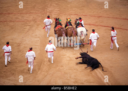 End of the bullfight, Plaza de Toros, San Fermin festival, Pamplona, Navarra, Euskadi, Spain, Europe - Stock Photo