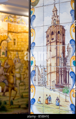 Detail of hand painted tiles or Azulejos of the El Micalet cathedral bell tower in historical centre of Valencia - Stock Photo