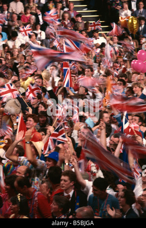 Audience at the Last Night of the Proms in 1992, Royal Albert Hall, Kensington, London, England, Europe - Stock Photo