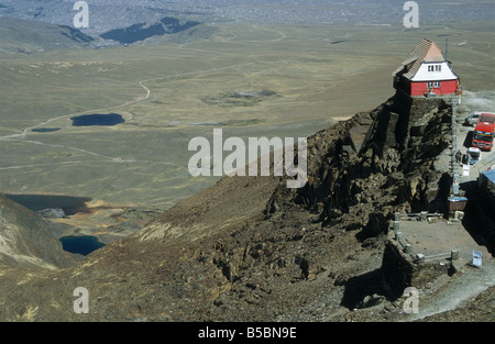 The old ski hut on Mt. Chacaltaya, altiplano and La Paz in distance, Cordillera Real, Bolivia - Stock Photo