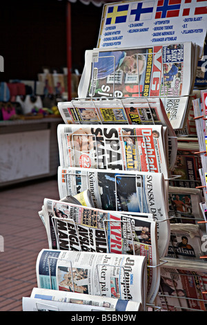 International newspapers on sale to tourists Gran Canaria Spain - Stock Photo