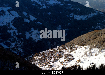 switzerland valais val d'anniviers st luc view of the village from the slopes - Stock Photo