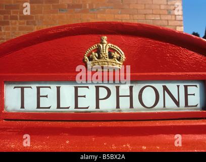 UK England K6 Phone Box Restored Telephone sign crown - Stock Photo