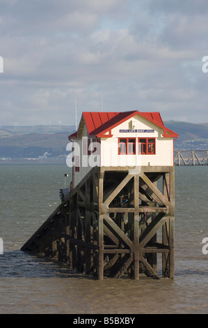 The Victorian RNLI Mumbles lifeboat station off Mumbles Pier near Swansea. - Stock Photo