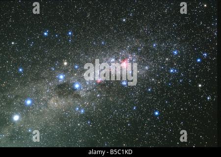 The Centaurus region of the Milky Way, including the Southern Cross, Coalsack Nebula, Alpha Centauri and the Eta - Stock Photo