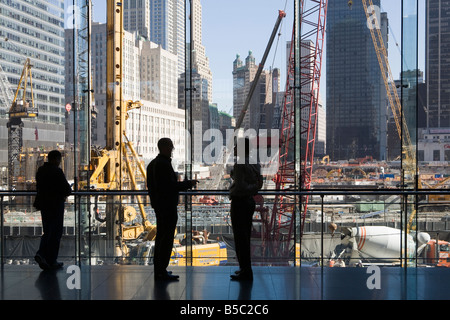 View from the Winter Garden of the work at Ground Zero New York City USA - Stock Photo