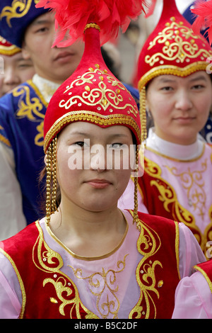 Young Kazakh Girls In National Dress Kazakhstan - Stock Photo