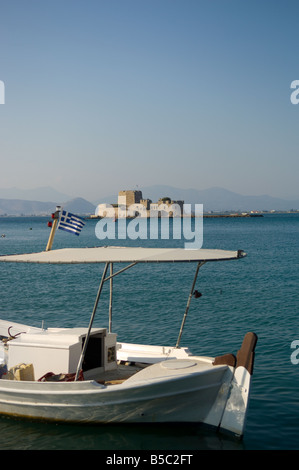 The castle of Bourtzi is located in the middle of the harbour of Nafplio. - Stock Photo