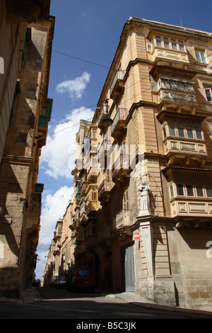 'St Nicholas Street' in Valletta, Malta. - Stock Photo