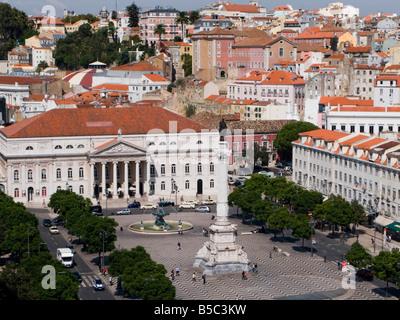 View of Teatro Nacional Dona Maria II and Rossio (praca Dom Pedro IV) from the Elevador de Santa Justa, Baixa, Lisbon, - Stock Photo