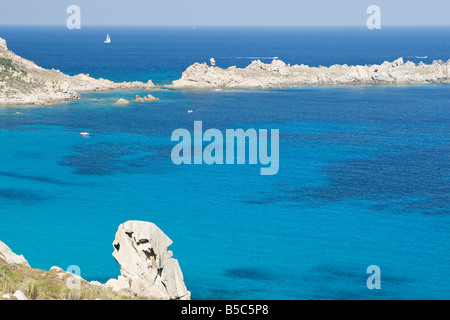 View from the rocky headland, Capo Testa, Santa Teresa Gallura, Sardinia, Italy - Stock Photo