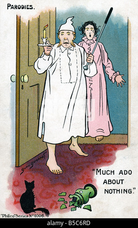 1900s Edwardian Comic Art Postcard Parody Much Ado about Nothing EDITORIAL USE ONLY - Stock Photo