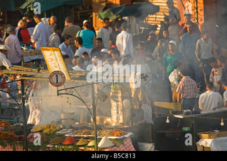 A compressed perspective aerial view of the open air 'restaurants' at the Djemaa El Fna in Marrakesh. - Stock Photo