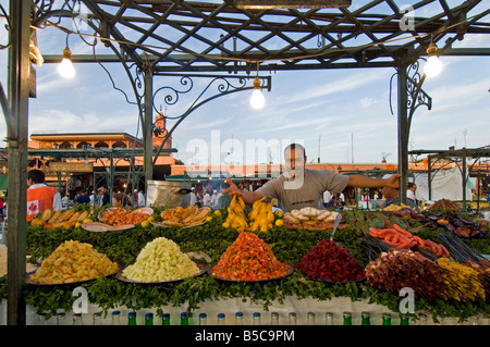 A wide close view of an open air 'restaurant' at the Djemaa El Fna in Marrakesh. - Stock Photo
