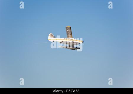 Sea plane descending for a landing on Lake Union in Seattle, Washington, USA - Stock Photo