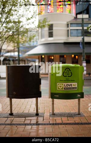 Rubbish and recycling bins Wellington New Zealand - Stock Photo