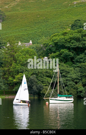 Sailing boats on Ullswater in the English Lake District, Cumbria - Stock Photo