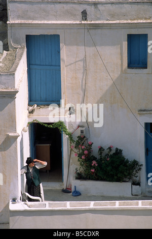 greece, dodecanese islands, karpathos, olymbos, greek woman wearing traditional clothes - Stock Photo
