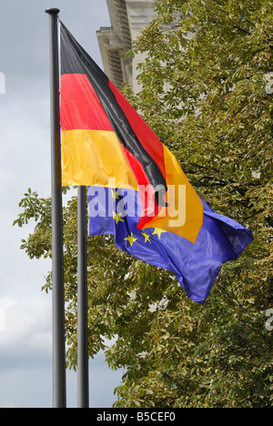 Two flags of Germany and EU Ber in Germany - Stock Photo