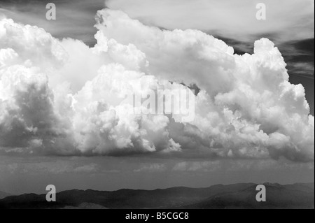 aerial view above cumulus and cumulonimbus clouds western Texas - Stock Photo