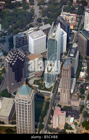 aerial view above 1180 Peachtree Street and other Midtown Atlanta Georgia office buildings housing law offices King - Stock Photo