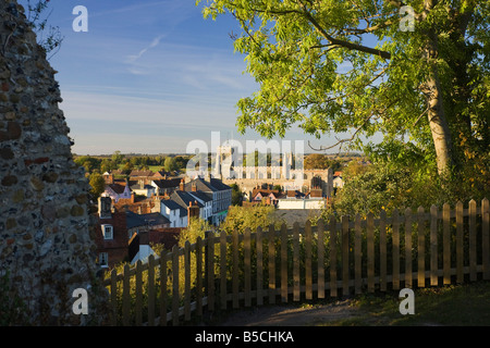 view of Clare from the old castle in Clare, Suffolk, UK - Stock Photo