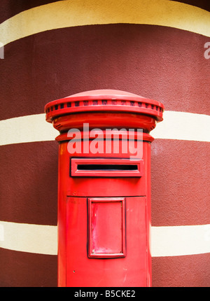 'Red British Post Box left from the colonial period in Hong Kong China' - Stock Photo