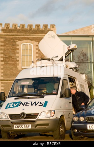 ITV news satellite outside broadcast van parked in Cardiff bay, Wales UK - Stock Photo