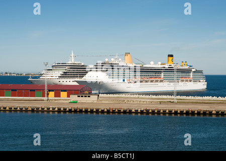 Cruise ships Arcadia and Costa Atlantica berthed at the harbour in Tallinn, Estonia - Stock Photo