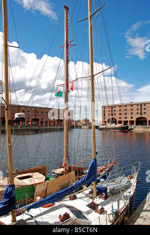 yachts moored at albert dock in liverpool,england,uk - Stock Photo