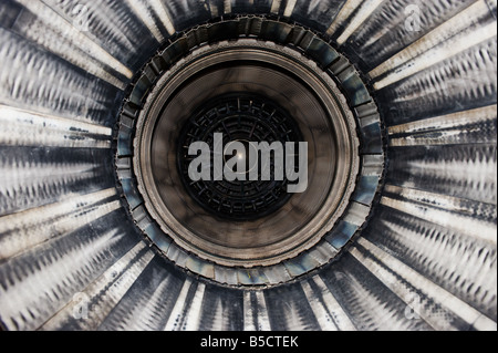 Close up of a F16 jet engine seen from the rear end - Stock Photo