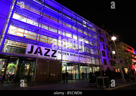 festival of the lights 2008 in Berlin; illuminated building; Jazz In den Ministergärten - Stock Photo