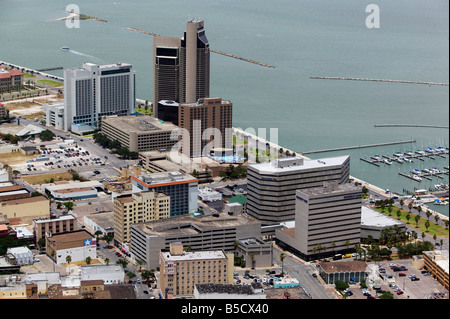 aerial view above Corpus Christi Texas - Stock Photo