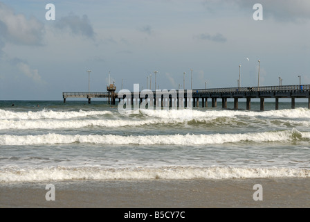 Bob Hall pier on Padre Island, Southern Texas USA - Stock Photo