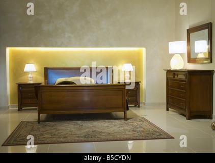 warm classical bedroom - Stock Photo