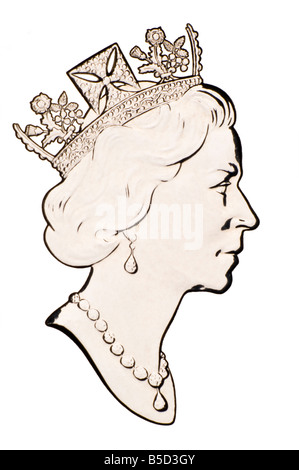 Profile Portrait of Queen Elizabeth II from silver coin - Stock Photo