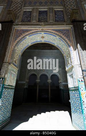 The Ambassadors Hall with three horseshoe arches, Real Alcazar, Santa Cruz district, Seville, Andalusia (Andalucia), - Stock Photo