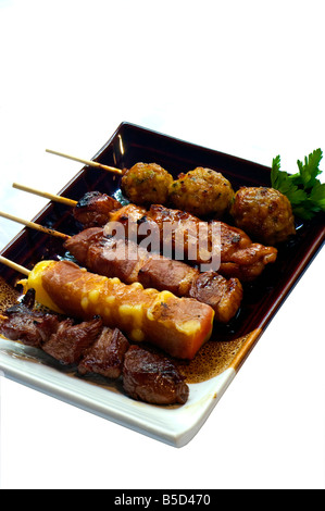 'Japanese Food' 5 Different Broilers Yakitori Grilled Cheese Beef Chicken Meat Ball restaurant 'take away' skewer - Stock Photo