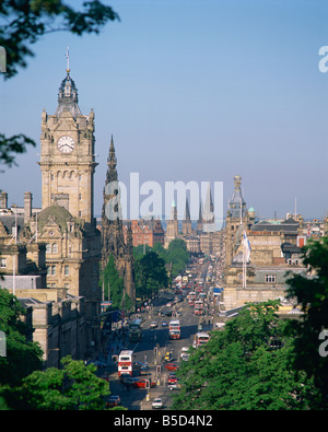 Aerial view over Princes St including the Waverley Hotel clock tower Edinburgh Lothian Scotland UK R Richardson - Stock Photo