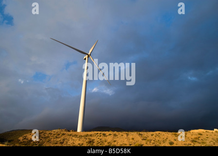 Wind turbines that produce clean sustainable energy in the Sierra Nevada mountain range of Andalusia in southern - Stock Photo