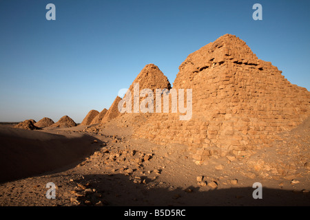The royal cemetery of Nuri, burial place of King Taharqa, ancient ruler of the Kingdom of Kush, Karima, Sudan, Africa - Stock Photo
