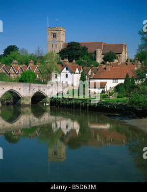 View across River Medway to village and church, Aylesford, Kent, England, Europe Stock Photo