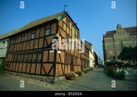 Half-timbered houses in the 16th century Lilla Torget, Malmo, Sweden, Scandinavia, Europe - Stock Photo