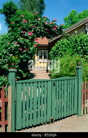 House in small town in archipelago near Stockholm, Vaxholm, Sweden, Scandinavia, Europe - Stock Photo