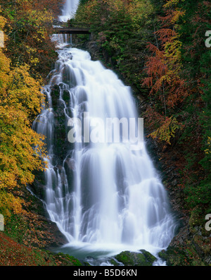 The Giessbach waterfall in autumn in the Bernese Oberland Switzerland Europe - Stock Photo