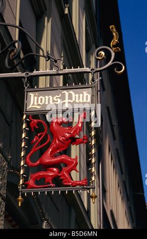 Pub sign, Old Town, Zurich, Switzerland, Europe - Stock Photo
