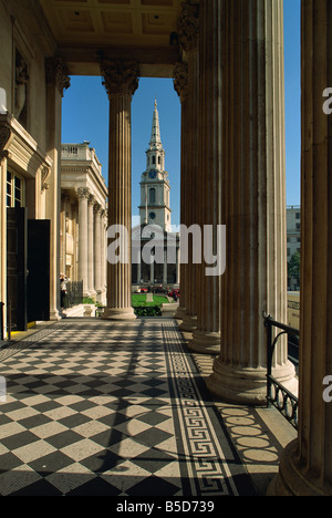 St. Martin in the Fields, seen from the National Gallery, Trafalgar Square, London, England, Europe - Stock Photo